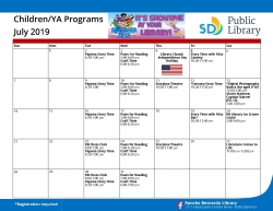 The July 2019 Children and Young Adult Calendar