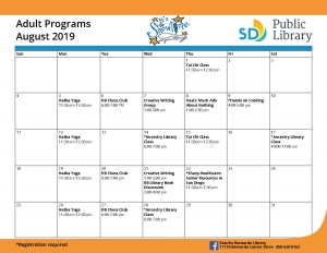 Rancho Bernardo Library August Adult Calendar